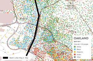 overlay of MLK Jr. Way in over race map of Oakland, via Colorlines