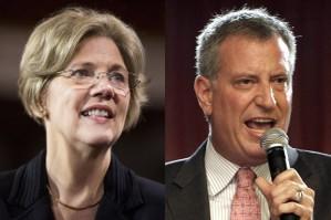Elizabeth Warren, Bill de Blasio (Credit: Reuters/Joshua RobertsAP/Ricardo Arduengo)