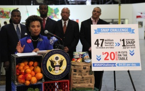 Rep. Barbara Lee (D-CA), who was once a recipient of public assistance, talks about food stamps and lawmakers' SNAP challenge. Photo via accfb.org.
