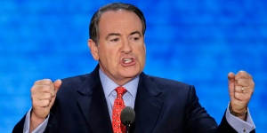 Former governor of Arkansas Mike Huckabee addresses the Republican National Convention in Tampa, Fla., on Wednesday, Aug. 29, 2012. (AP Photo/J. Scott Applewhite)